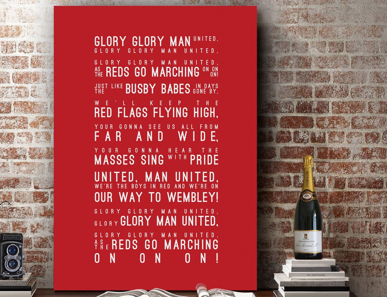 Glory Glory Man Utd Manchester United Song Wall Art Song Lyrics Home Decor Anniversary Gift Typography Lyric Print Lyric Prints Manchester United Lyric Gift