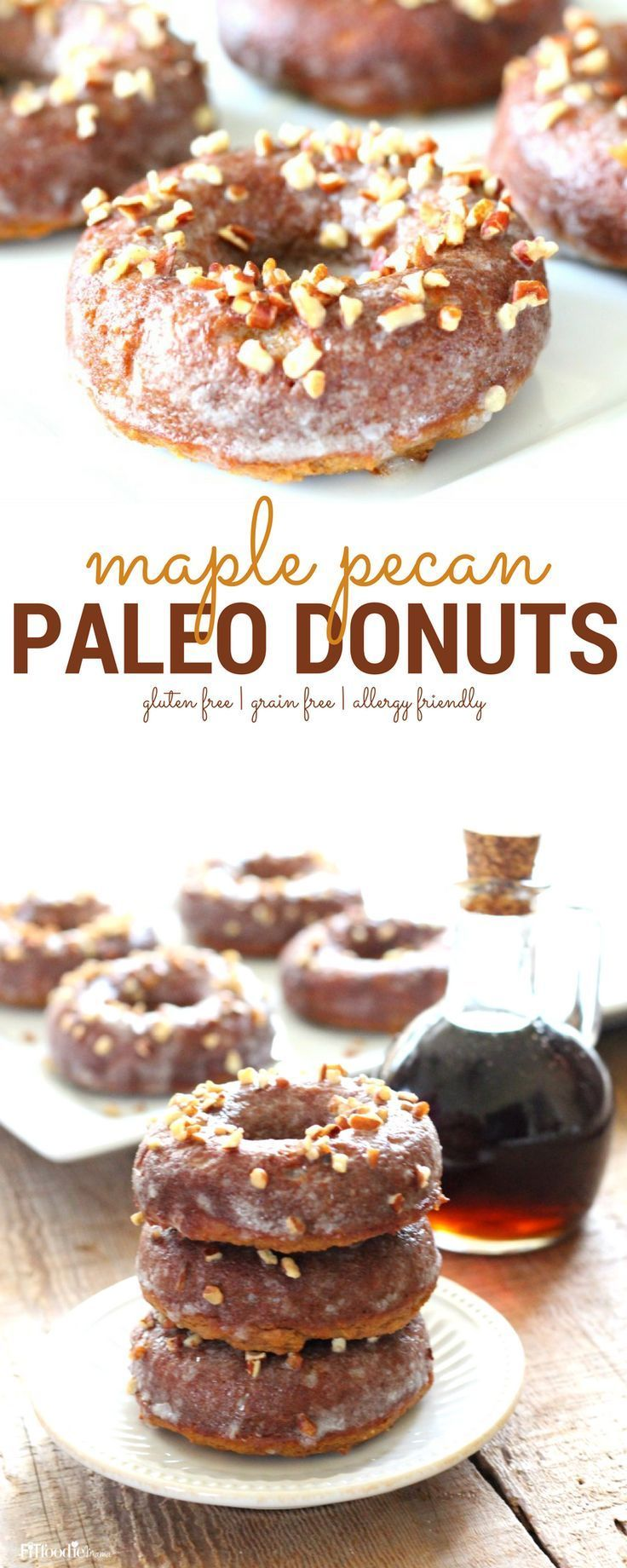 Quick and Easy Maple Pecan Paleo Donuts - The Fit Foodie Mama #proteindonuts