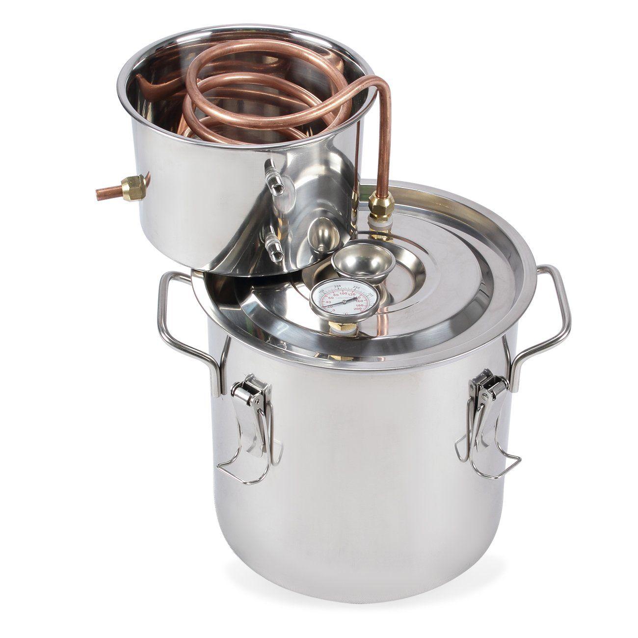 with distilling supplies: Distiller. Stainless steel ...