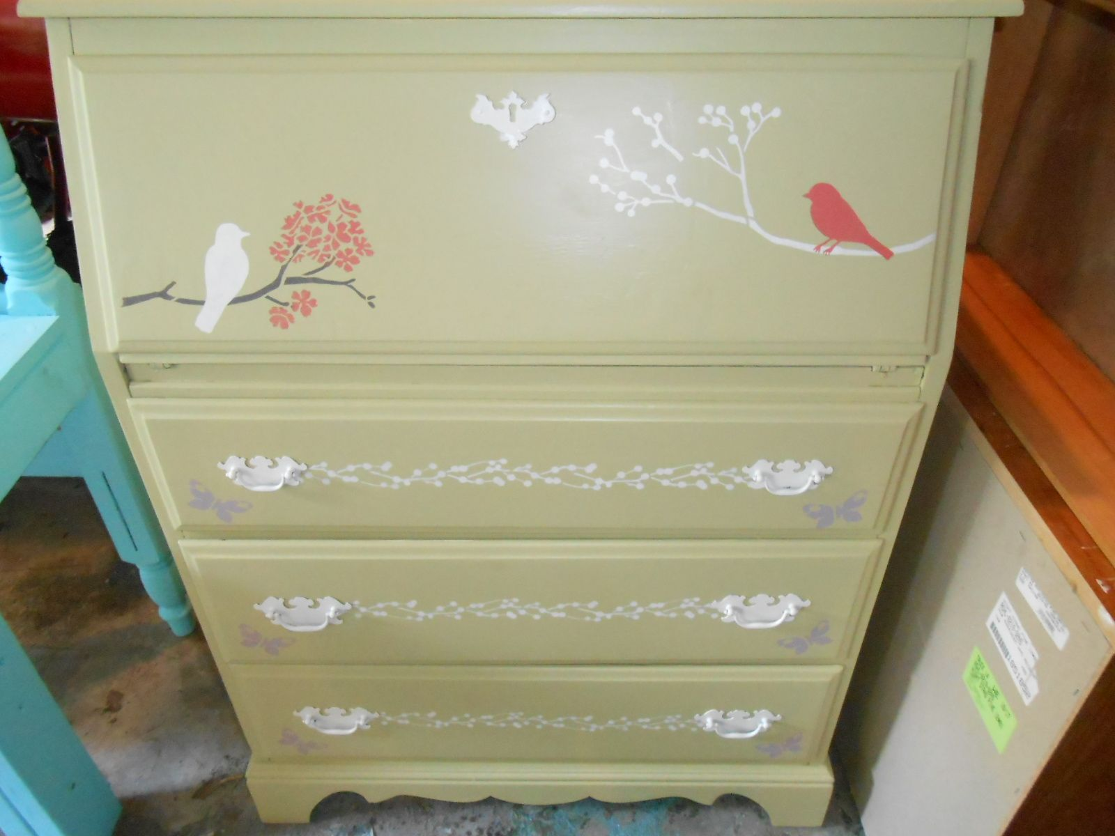 Secretary Desk Makeover With Martha Stewart Stencils Check Out My Other Upcycled Furn Secretary Desk Makeover Interior Design Website Martha Stewart Stencils