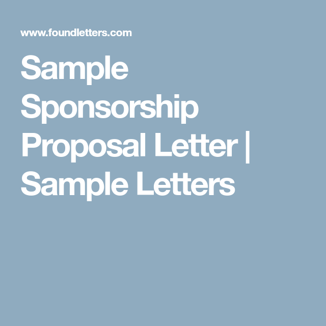 Sample Sponsorship Proposal Letter