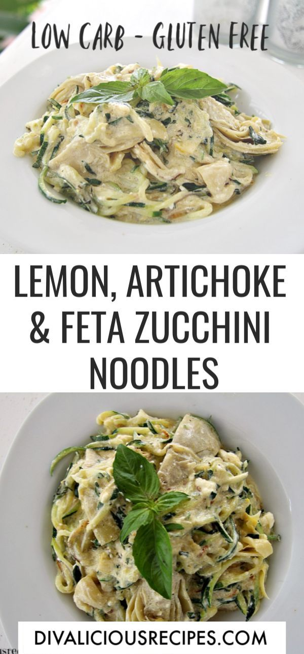 Zucchini & Artichoke in a Lemon Feta Sauce #zucchininoodles