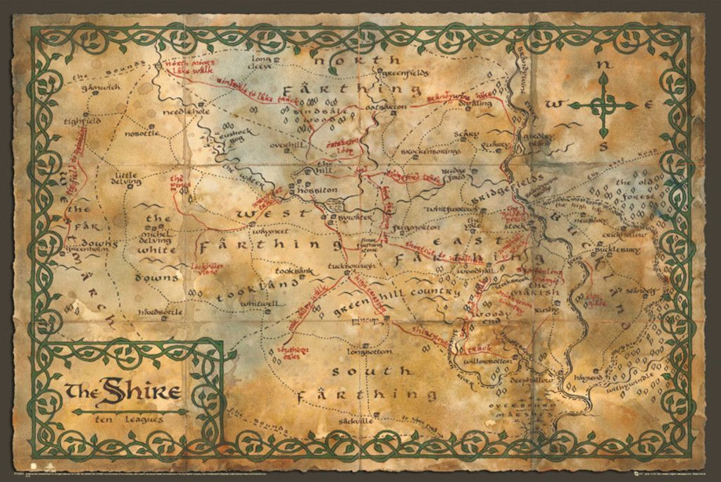 lord of the rings the hobbit map of the shire official poster official merchandise