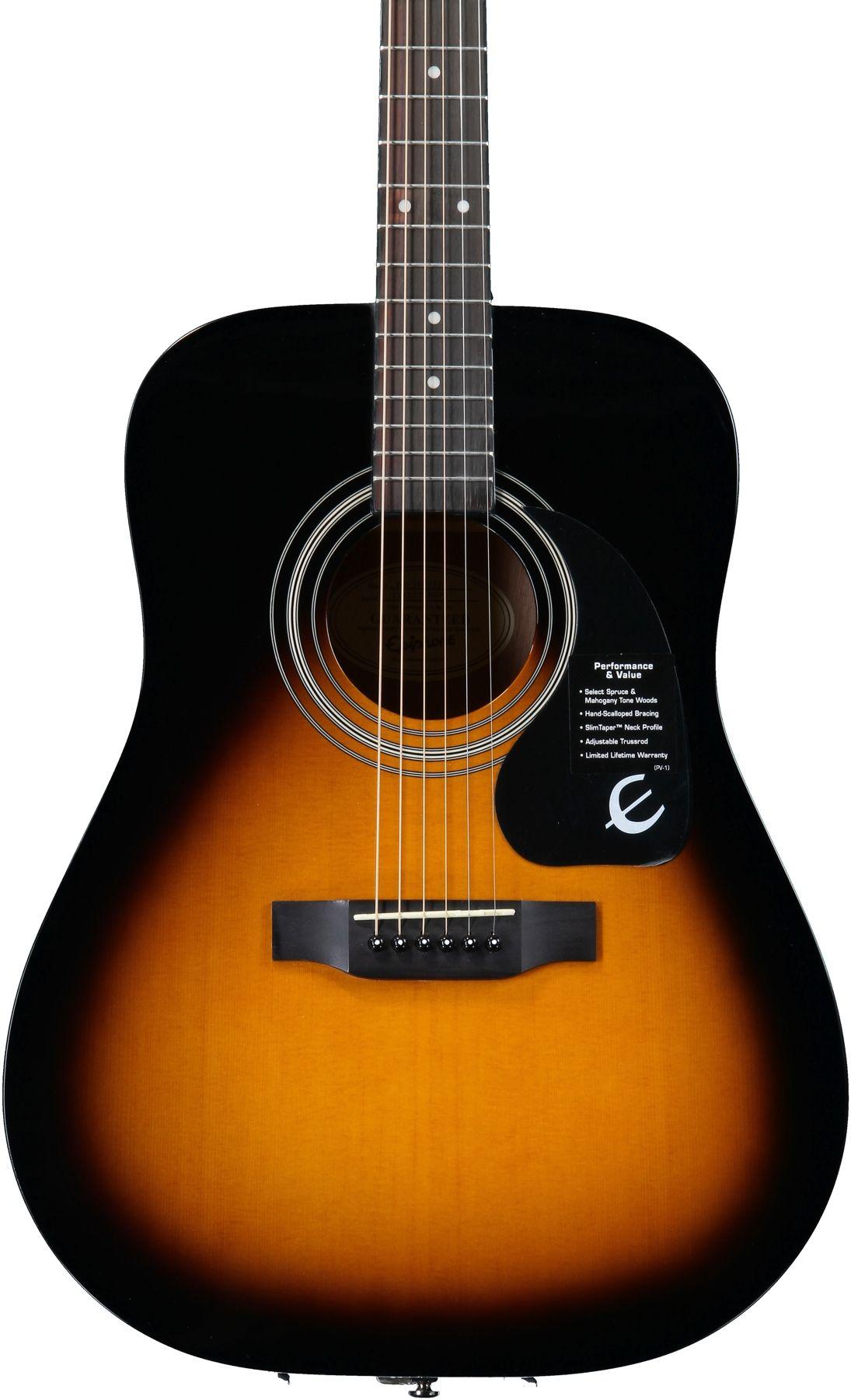Epiphone Dr 100 Dreadnought Acoustic Guitar Vintage Sunburst Epiphone Sunburst Guitar