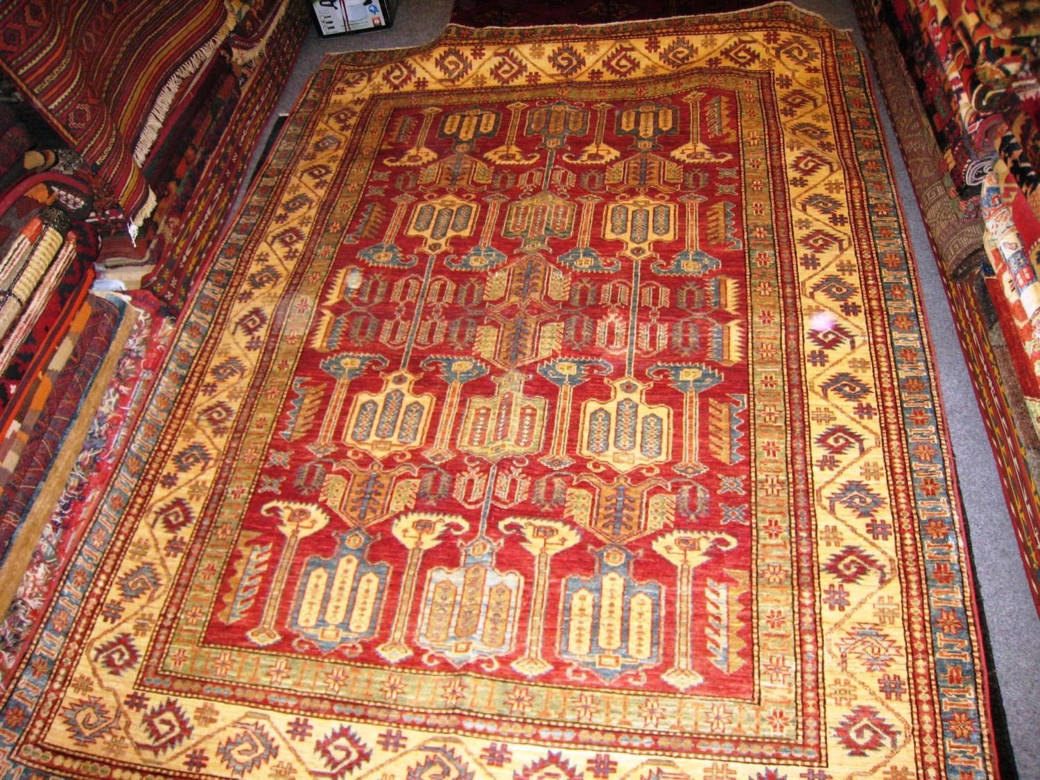 PERSIAN ORIENTAL CARPET Rug Khazar Bukhara Afghan Afghanistan 5x8 Hand Knotted 100 Wool Traditional Bed