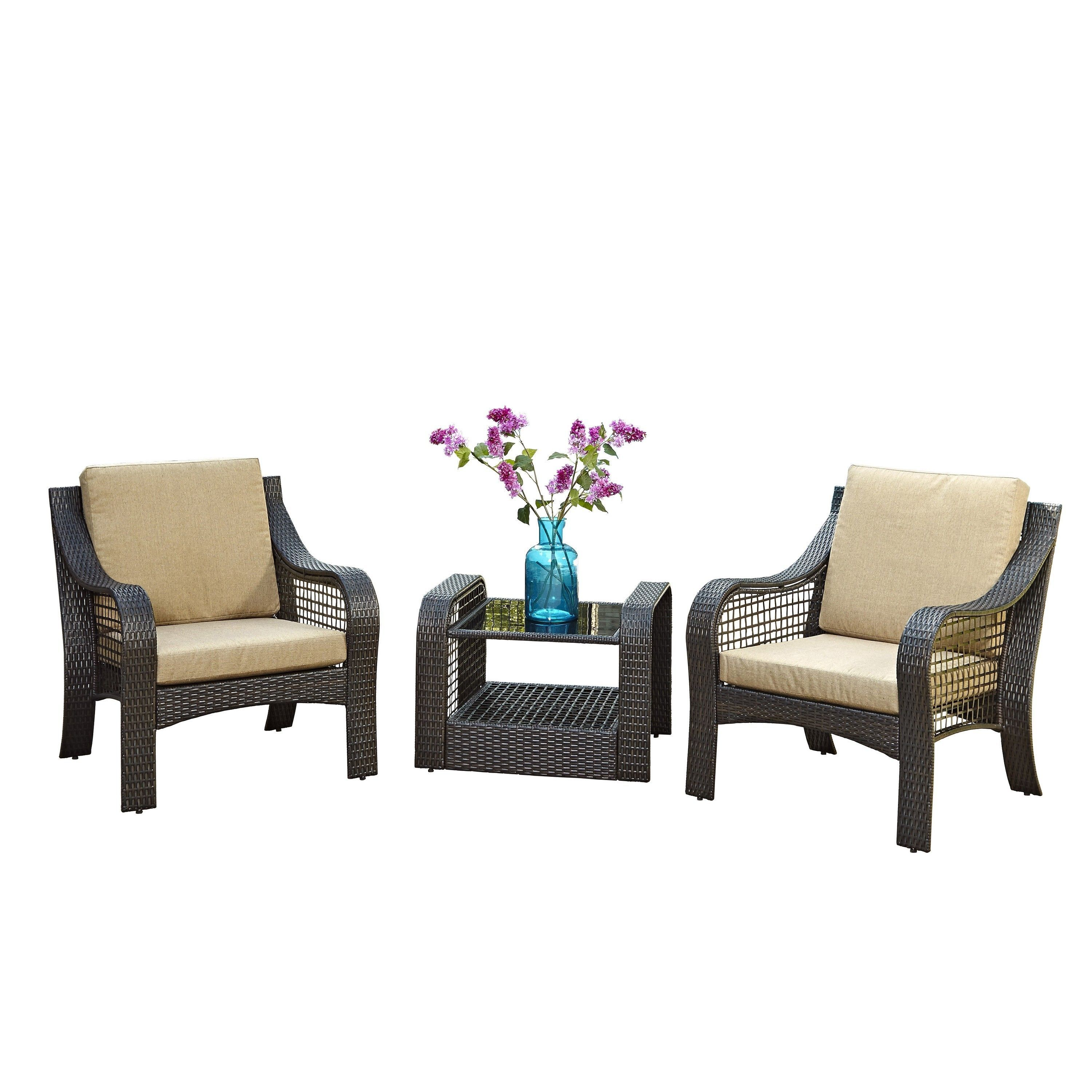 Lanai Breeze Two Accent Chairs And End Table By Home Styles Deep Brown Size 3 Piece Sets Patio Furniture Aluminum