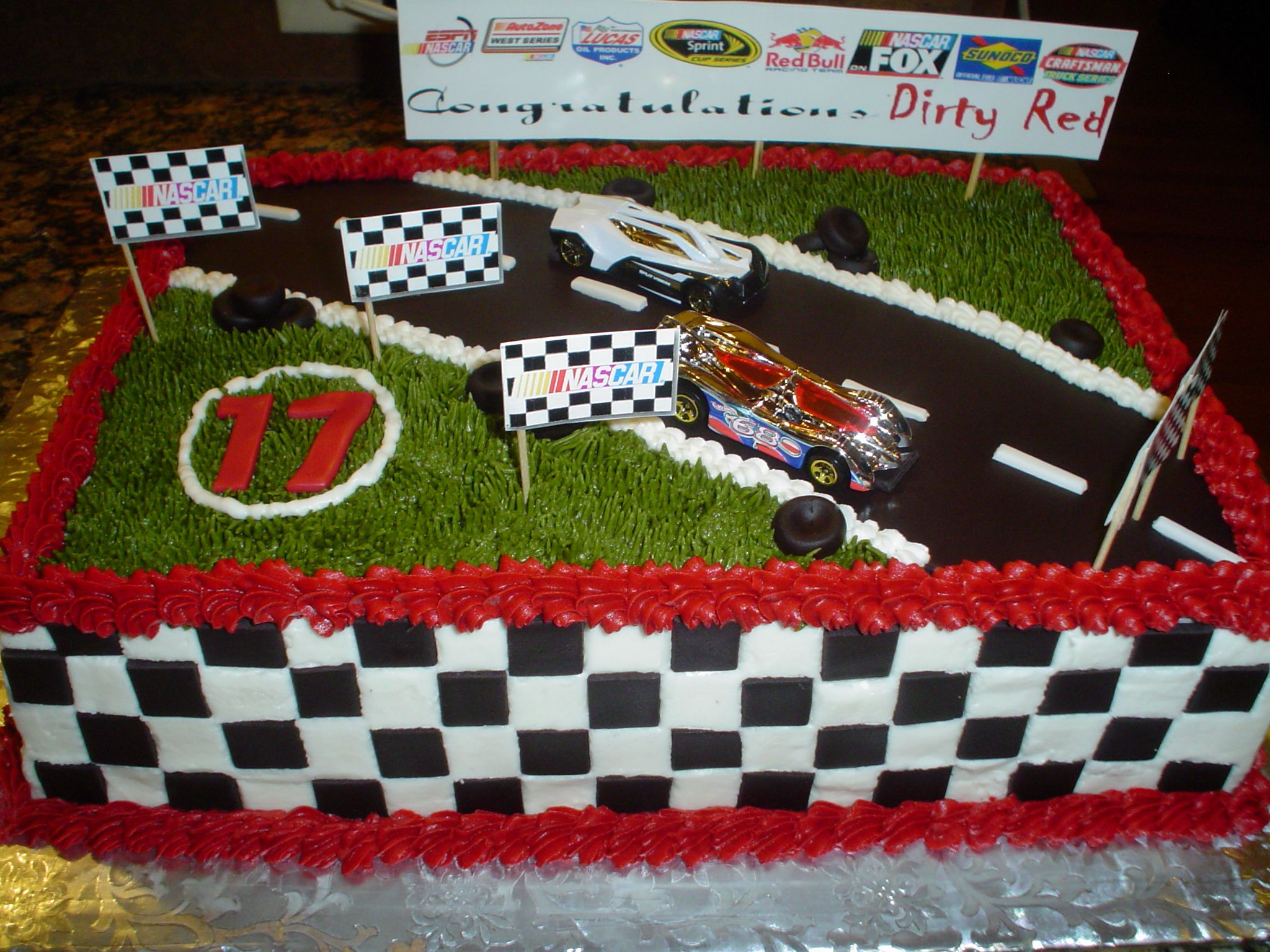 Nascar Theme Racing cars Marble cake chocolate with vanilla