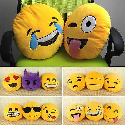Soft Emoji Smiley Emoticon Yellow Round Cushion Pillow Stuffed Plush Toy Doll Emoji Pillows Pillows Emoji