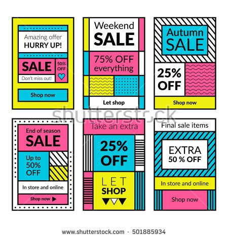 flat design sale website banners for mobile phone vector
