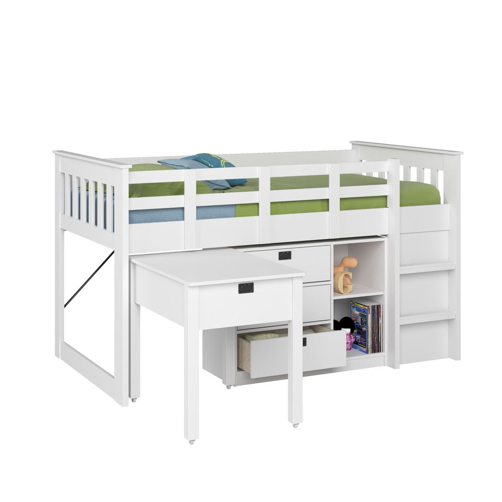 Low loft bed with desk and storage  CorLiving Madison Single Twin Loft Bed with Desk and Storage