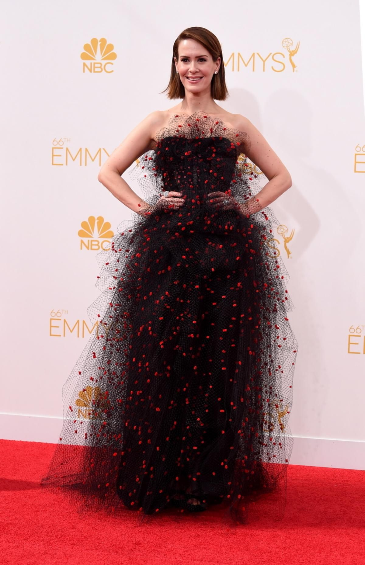Sarah Paulson went for a haute couture look as she walked the red carpet in a Armani Prive black tulle gown with red sequins.I posted this on our tutu board