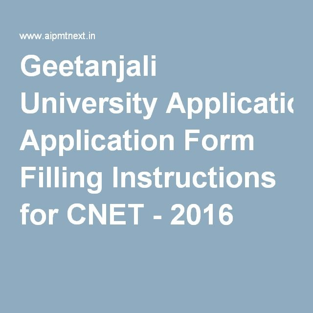 Geetanjali University Application Form Filling Instructions for - basic application form