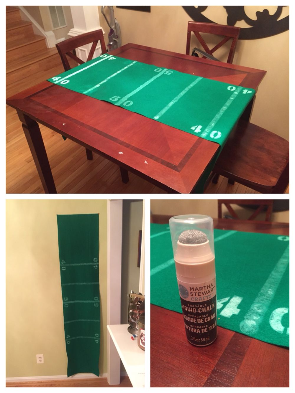 Football Field Table Runner Green Felt 5 Chalk Paint 8 Stencils Created Two Runners