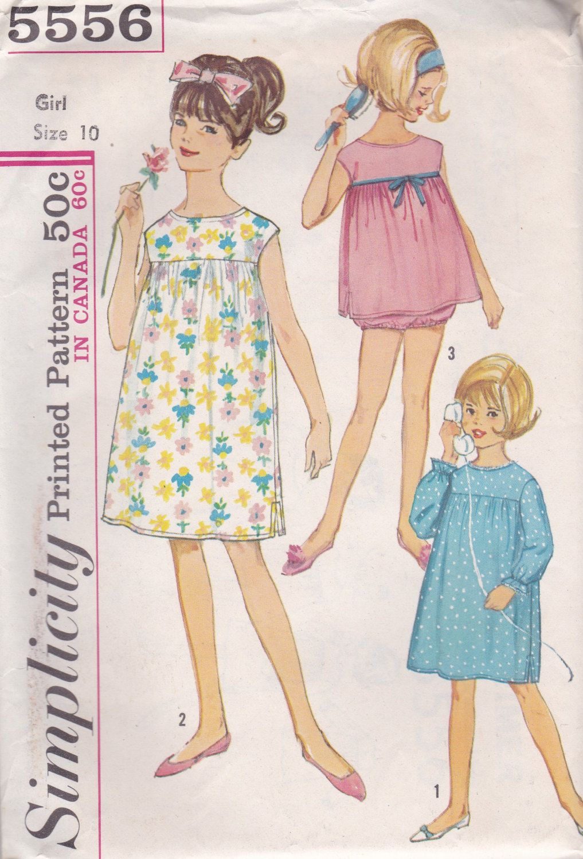 Girls Vintage Nightgown & Panties Pattern by OneMoreCupOfTea