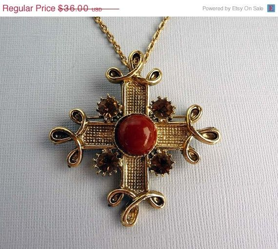 Maltese cross pendant gold maltese cross pendant brooch necklace maltese cross pendant gold maltese cross pendant brooch necklace vintage jewelry s aloadofball Image collections
