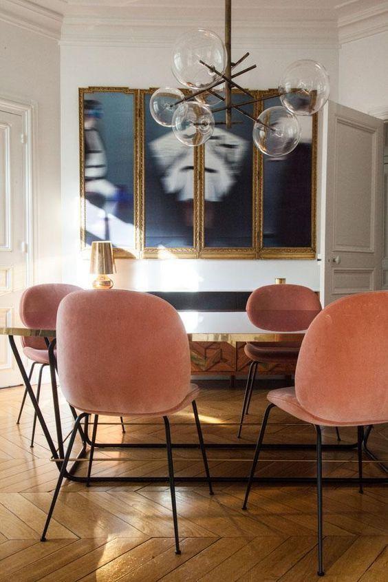 Dining Room With Peach Chairs, Pantone Blooming Dahlia, Wood Chevron Floor