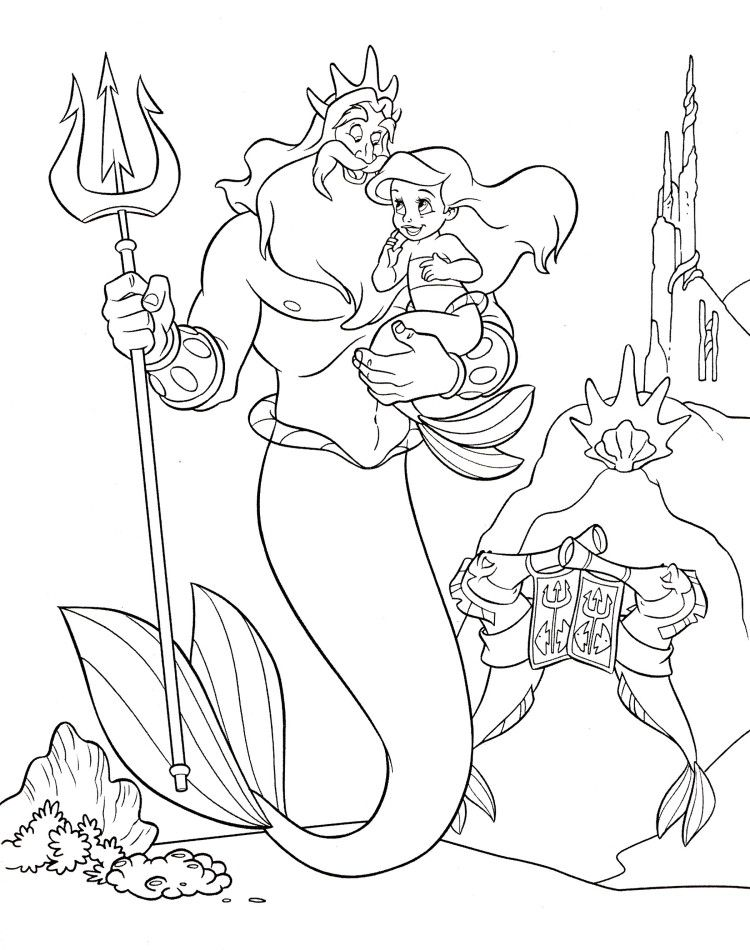 King Triton With Princess Ariel Disney Coloring Pages The Little - new little mermaid swimming coloring pages