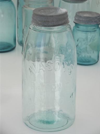 Antique Blue Glass Mason Jar Old Zinc Lid 2 Qt Fruit Jar W 1858