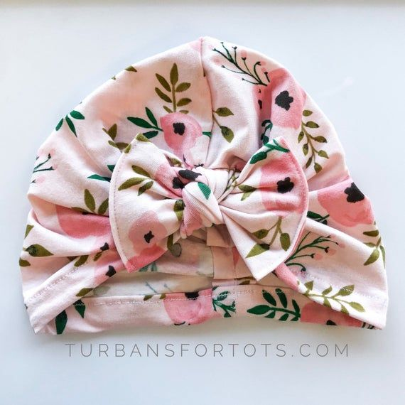 Watercolor Roses: (jersey) w/ flatbow - baby turban, baby girl hat, floral baby hat, baby turban, ba #premiebabyhats