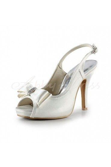 Satin Stiletto Heel Sandals, Platform, Peep Toe, Slingbacks, Pumps Women's Shoes Ivory Wedding Shoes- Abbydress.com