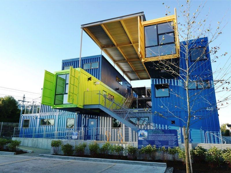 Colorful Box Office Constructed from 12 Shipping Containers, Providence,  Rhode Island - Distill Studio and Truthbox.