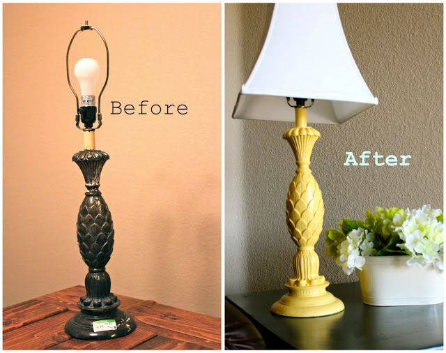 Yellow Pineapple Lamp Makeover Spray Painted Diy Spray Paint Lamps Lamp Makeover Painting Lamps