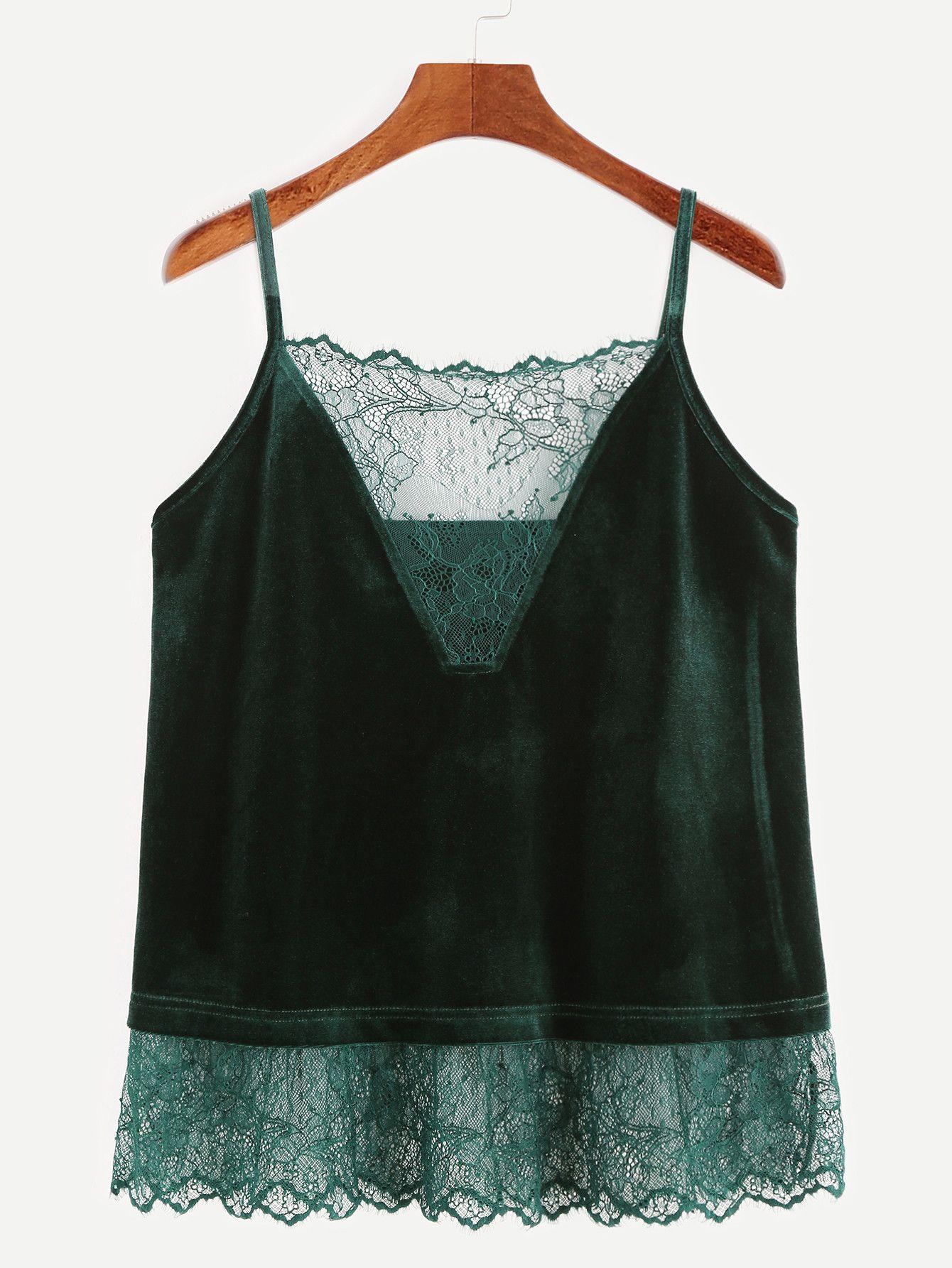 a47c079c7a0ba Dark Green Lace Trim Velvet Cami Top