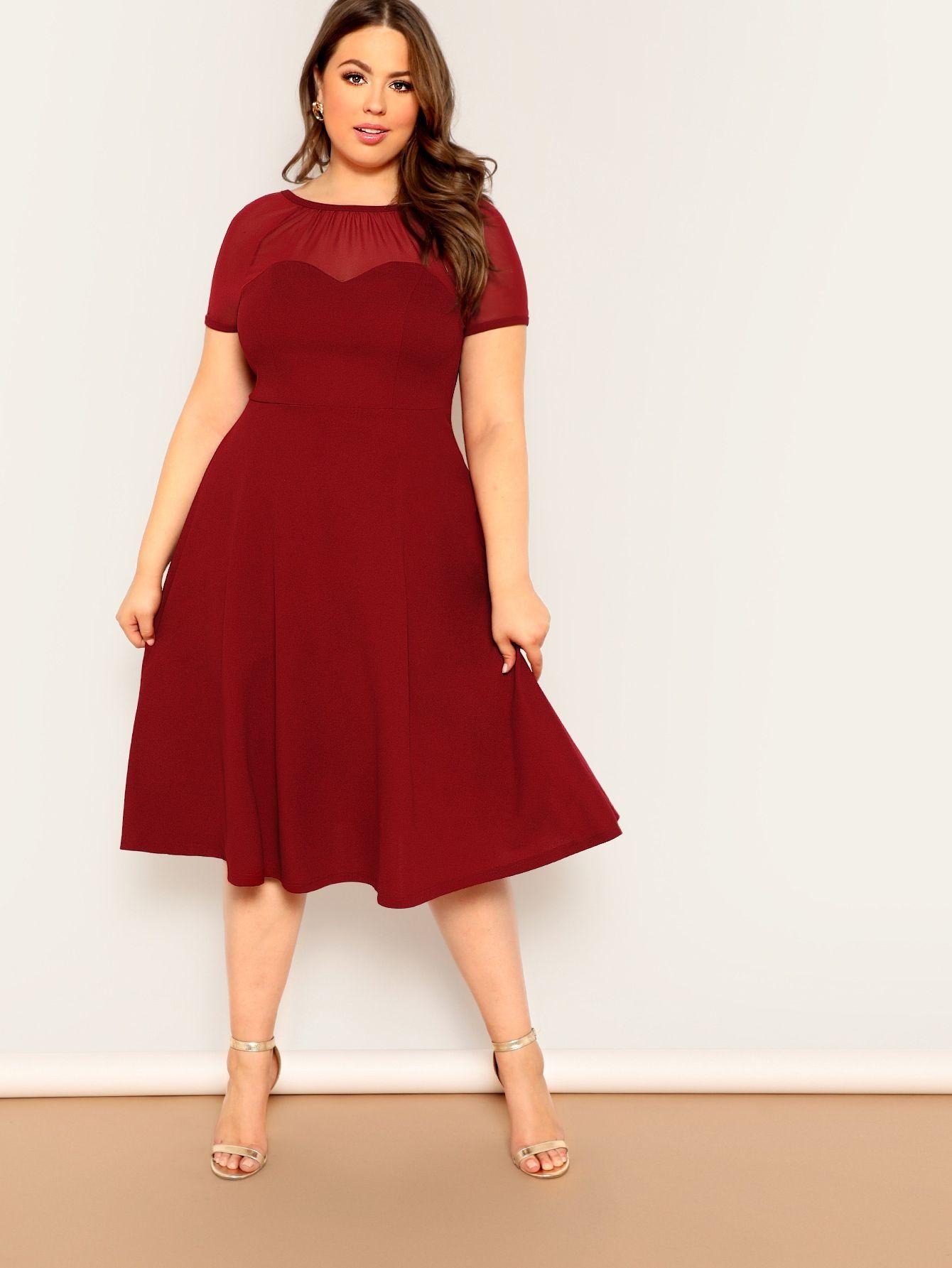 Plus V Back Mesh Sweetheart Dress Plus Size Dresses Flare Dress Fit Flare Dress [ 1785 x 1340 Pixel ]