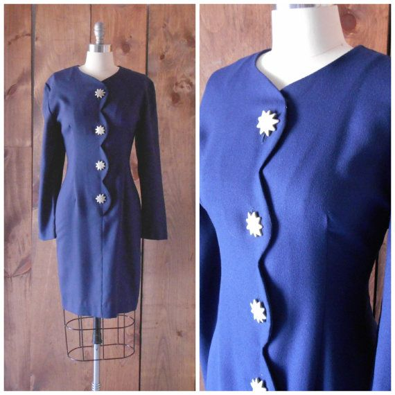 1980s navy blue rayon dress with starburst by SchoolofVintage, $38.00