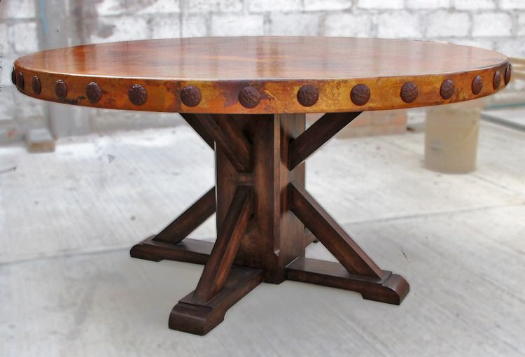 Wood Base Copper Tables Rustic Round Dining Table Round
