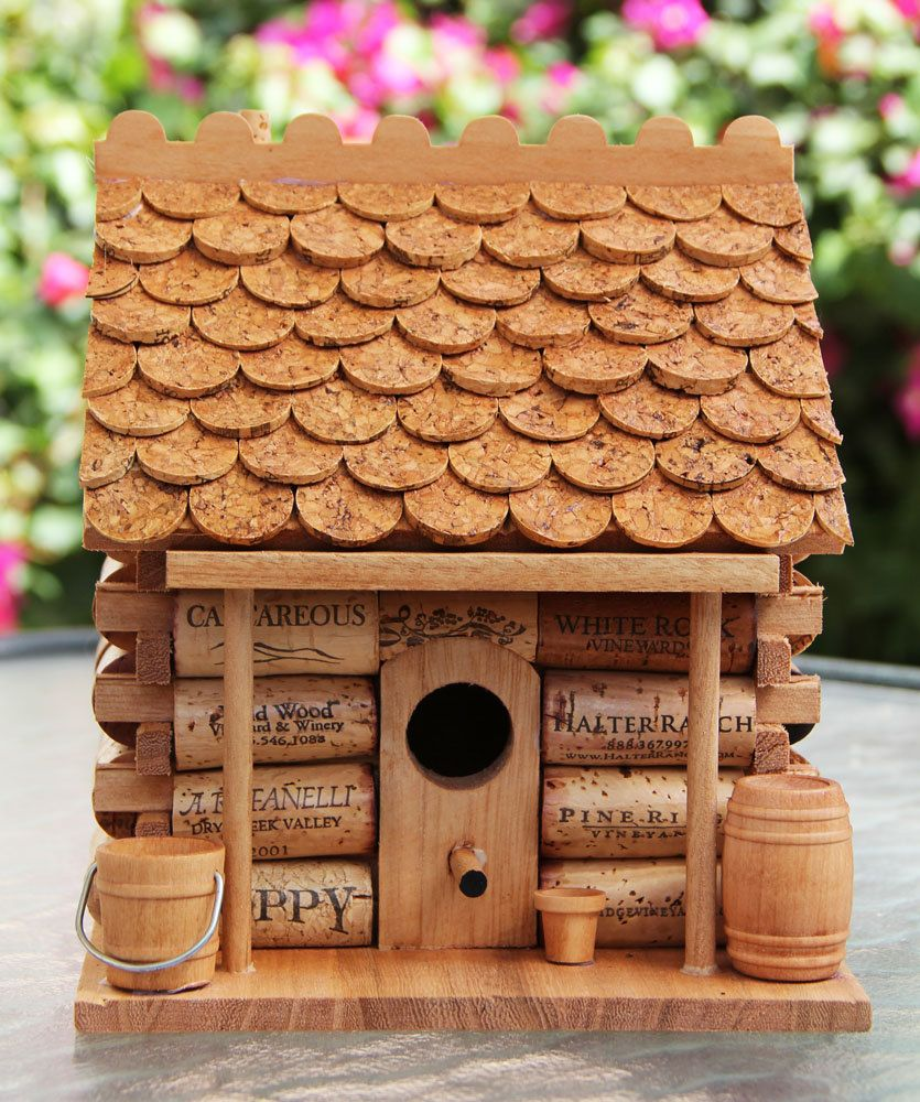 things to make with wine corks | Log Cabin birdhouse wood and wine ...