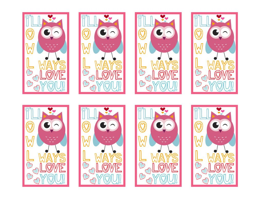 Owl Printable Valentineu0027s Day Cards