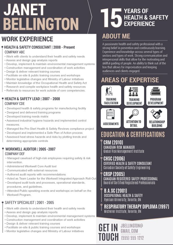 Infographic resumes, visual resume, resume design Infographic - safety professional resume