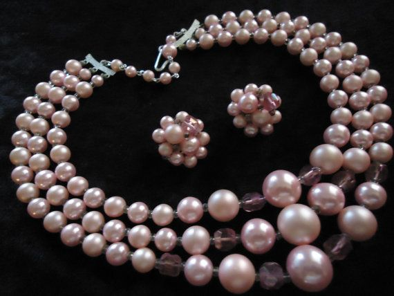 SALE Vintage Pink Peach 3 Strand Beaded Necklace by MartiniMermaid