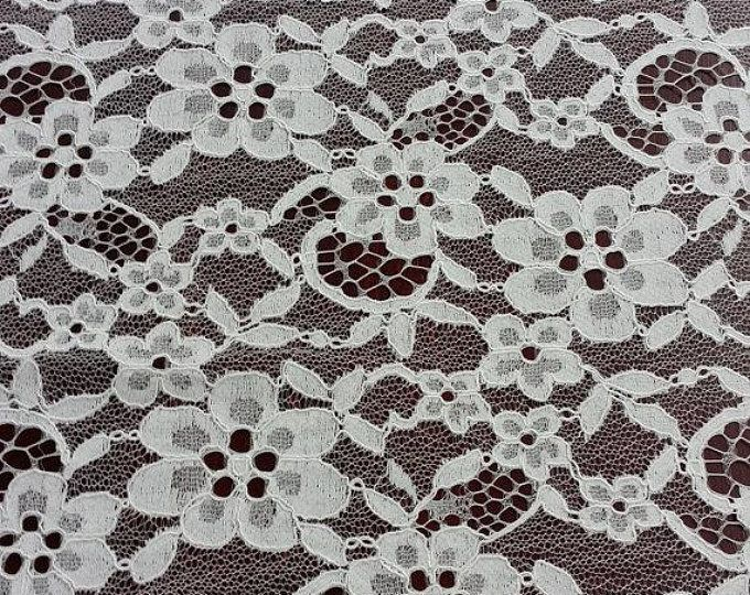 Antique Ivory Embroidered Lace Fabric Bridal Lace Dress Fabric Wedding Gown Dress by The Yard