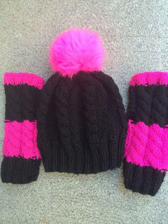 61ae7e10b4d hamd knit cable hat fur Pom Pom gloves. Knitted HatKnitting HatsKnit HatsHand  KnittingBlack GlovesPom Pom HatBlack KnitPink BlackHot Pink