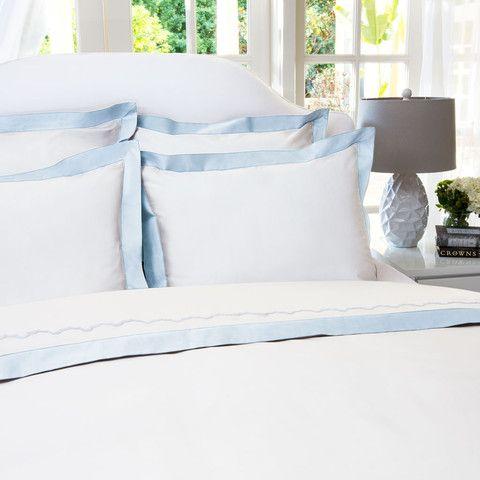 The Linden Light Blue Border White Bed Set Cheap Bed Linen