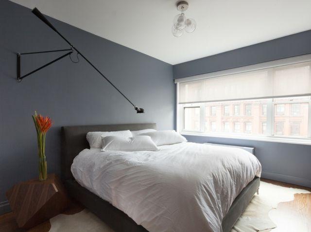 Modernes Schlafzimmer Gestalten Ideen Schwarze Lampe Moderner Nachttisch