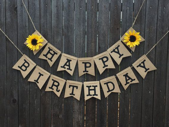 Sunflower Happy Birthday Banner Flower Burlap Rustic