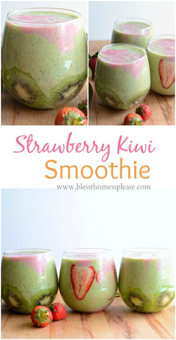 Healthy Strawberry Kiwi Smoothie ~ I love using the green kiwi because my kids just assumed the green in the smoothie was purely from the kiwi. They didn't know there was any spinach in it and I didn't tell them otherwise. I'm not against s