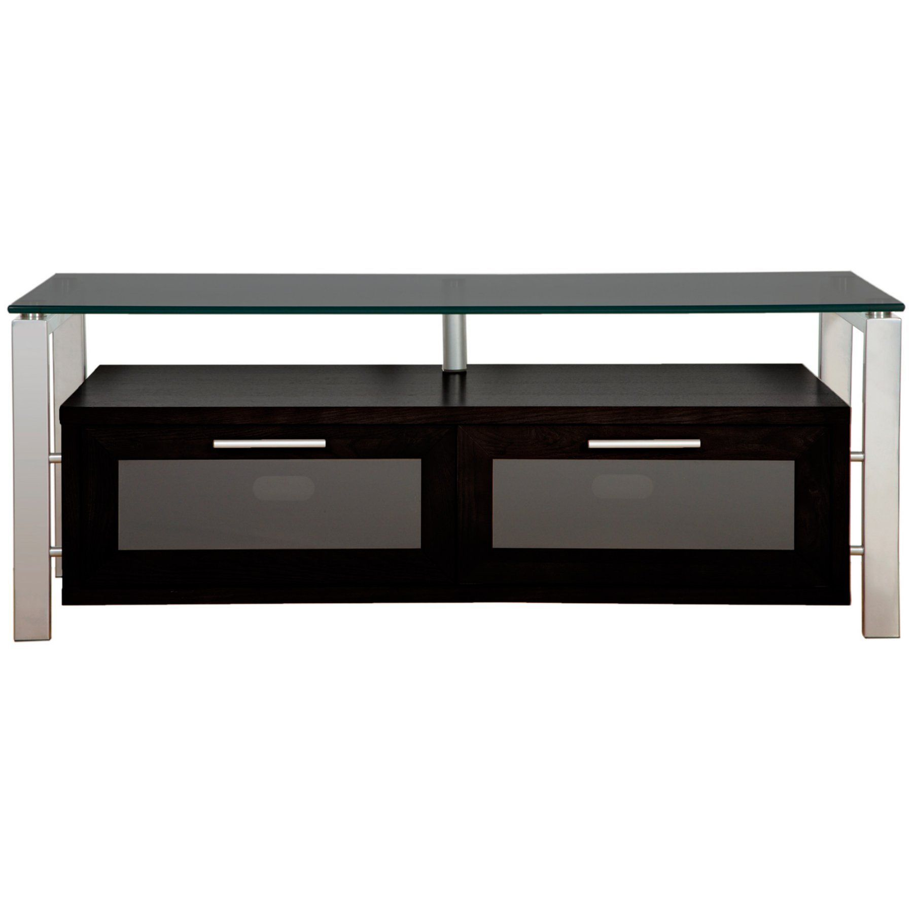 Plateau Decor 50 Inch TV Stand in Black Glass and Silver DECOR 50 B S BG