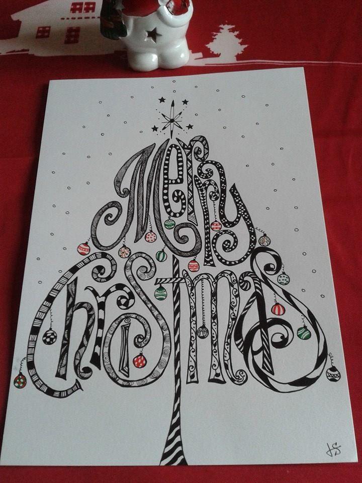 Merry Christmas tree   Christmas tree zentangle, Zentangle ...