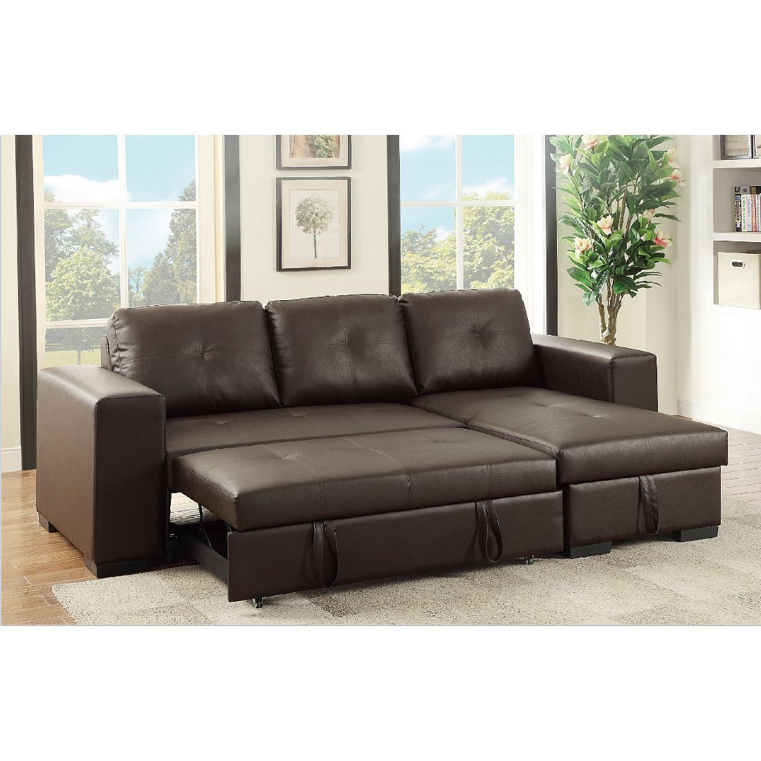 convertible sofa bed sectional hay mags modules nadim pullout light coffee brown metal