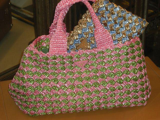 Borsa Modello Prada Segue Schema Del Punto Crochetbags Knitted
