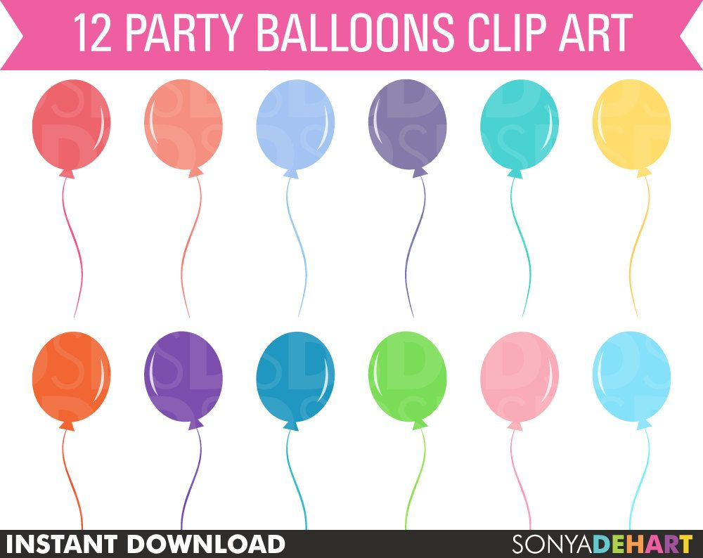 50 off sale birthday party clipart balloons commercial and personal use clip art balloon scrapbook instant download 1 98 via etsy  [ 1000 x 794 Pixel ]