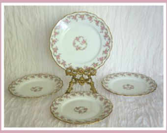 Limoges Elite Works Bridal Rose Pattern Plates