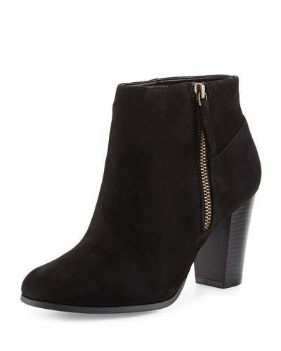 Davenport Suede Zip-Up Bootie, Black