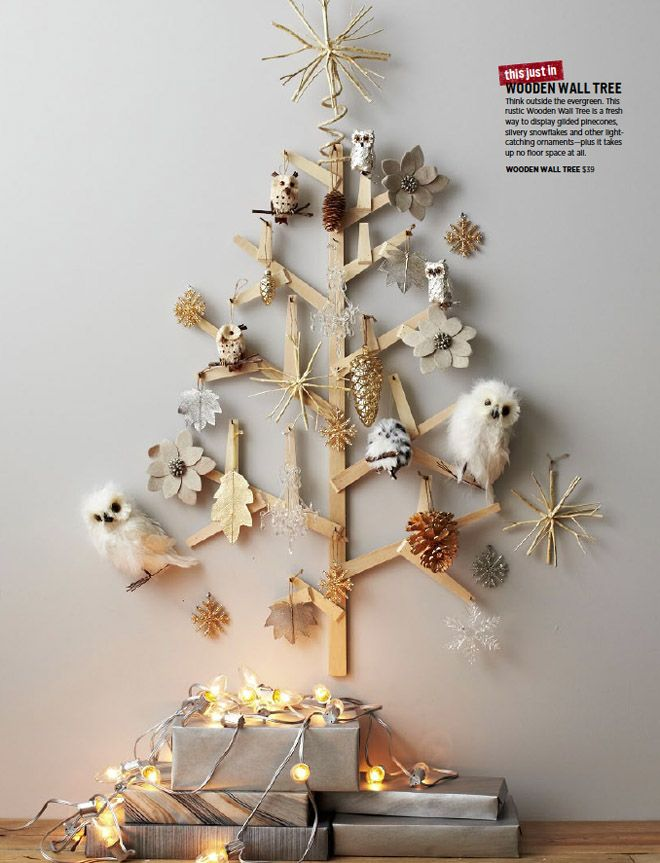 Decorate Christmas Tree Without Ornaments the wooden wall tree from @west elm is a good way to display