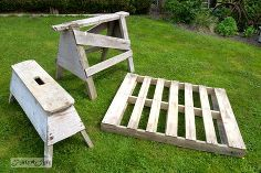 make an instant pallet and sawhorse diy lounger in 5 minutes, outdoor furniture, outdoor living, painted furniture, pallet, repurposing upcycling, woodworking projects