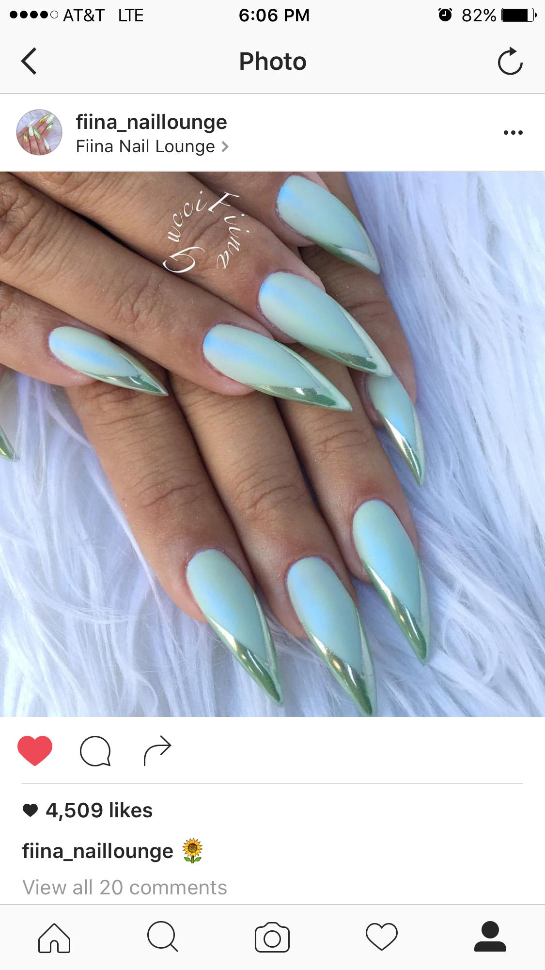 Teal w/ chrome effect Stiletto nails | ✨FANCY NAILS | Pinterest